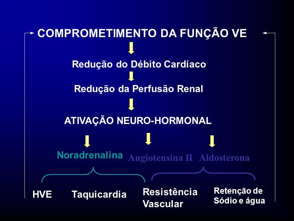 COMPROMETIMENTO DA FUNÇÃO VE Redução do Débito Cardíaco Redução da Perfusão Renal ATIVAÇÃO NEURO-HORMONAL Noradrenalina Angiotensina IIAldosterona Resistência Vascular HVETaquicardia Retenção de Sódio e água