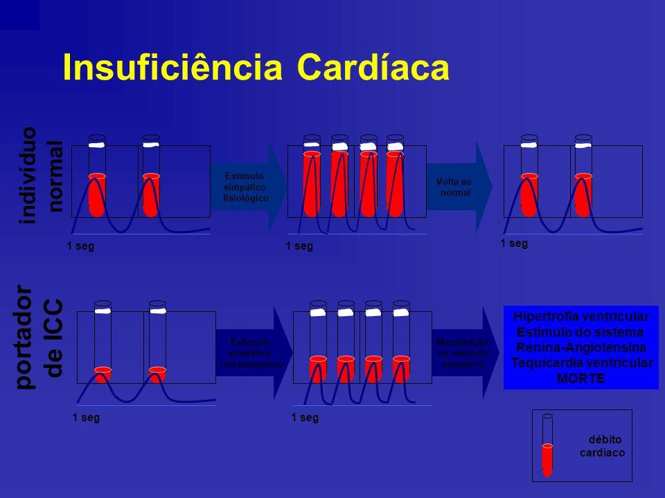 Insuficiência Cardíaca débito cardíaco 1 seg indivíduo normal portador de ICC Estímulo simpático fisiológico Estímulo simpático compensatório Volta ao normal Manutenção do estímulo simpático 1 seg Hipertrofia ventricular Estímulo do sistema Renina-Angiotensina Taquicardia ventricular MORTE 1 seg