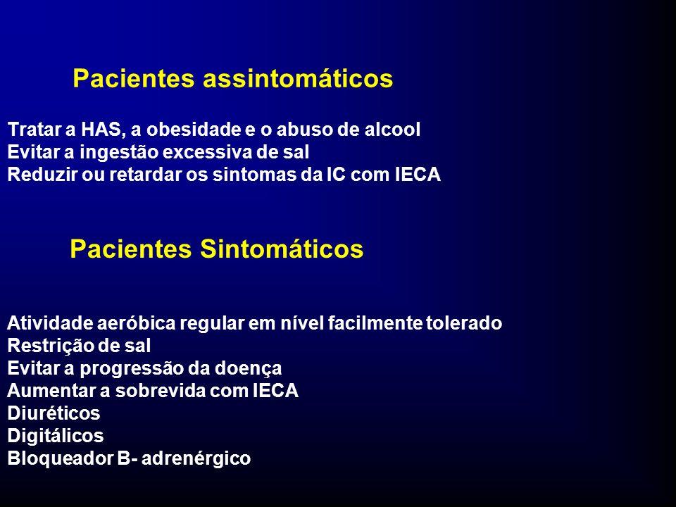 Pacientes assintomáticos Tratar a HAS, a obesidade e o abuso de alcool Evitar a ingestão excessiva de sal Reduzir ou retardar os sintomas da IC com IECA Pacientes Sintomáticos Atividade aeróbica regular em nível facilmente tolerado Restrição de sal Evitar a progressão da doença Aumentar a sobrevida com IECA Diuréticos Digitálicos Bloqueador B- adrenérgico