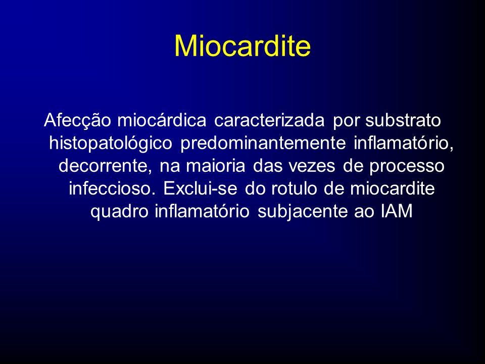 Afecção miocárdica caracterizada por substrato histopatológico predominantemente inflamatório, decorrente, na maioria das vezes de processo infeccioso.