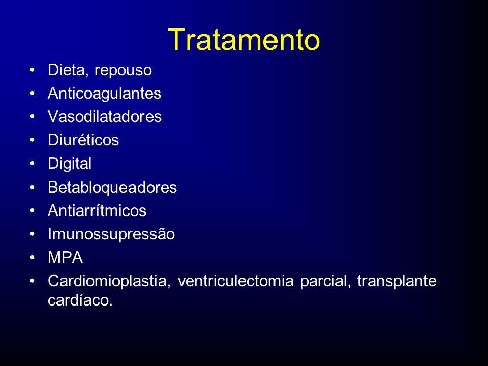 Tratamento Dieta, repouso Anticoagulantes Vasodilatadores Diuréticos Digital Betabloqueadores Antiarrítmicos Imunossupressão MPA Cardiomioplastia, ventriculectomia parcial, transplante cardíaco.