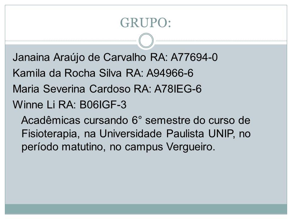 GRUPO: Janaina Araújo de Carvalho RA: A77694-0 Kamila da Rocha Silva RA: A94966-6 Maria Severina Cardoso RA: A78IEG-6 Winne Li RA: B06IGF-3 Acadêmicas