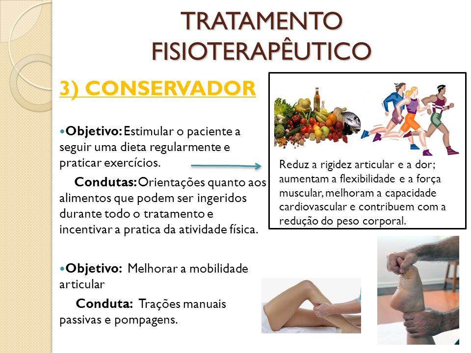TRATAMENTO FISIOTERAPÊUTICO 3) CONSERVADOR Objetivo: Estimular o paciente a seguir uma dieta regularmente e praticar exercícios. Condutas: Orientações