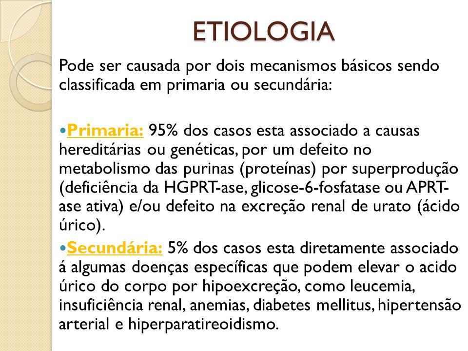 ETIOLOGIA Pode ser causada por dois mecanismos básicos sendo classificada em primaria ou secundária: Primaria: 95% dos casos esta associado a causas hereditárias ou genéticas, por um defeito no metabolismo das purinas (proteínas) por superprodução (deficiência da HGPRT-ase, glicose-6-fosfatase ou APRT- ase ativa) e/ou defeito na excreção renal de urato (ácido úrico).