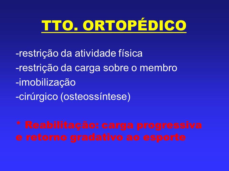 TTO. ORTOPÉDICO -restrição da atividade física -restrição da carga sobre o membro -imobilização -cirúrgico (osteossíntese) * Reabilitação: carga progr