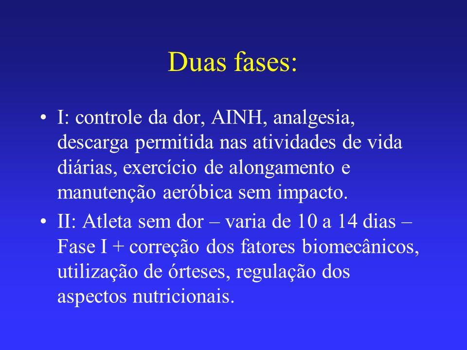 Duas fases: I: controle da dor, AINH, analgesia, descarga permitida nas atividades de vida diárias, exercício de alongamento e manutenção aeróbica sem