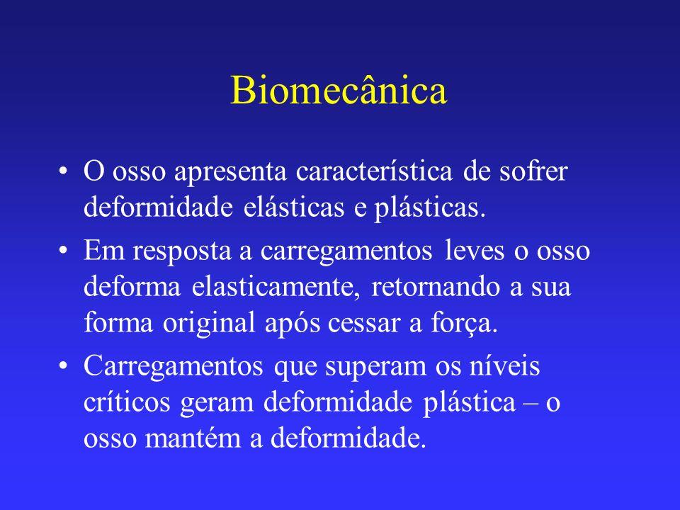 Biomecânica O osso apresenta característica de sofrer deformidade elásticas e plásticas. Em resposta a carregamentos leves o osso deforma elasticament