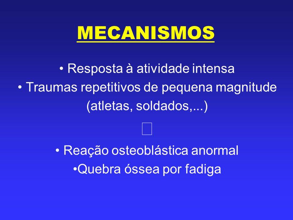 MECANISMOS Resposta à atividade intensa Traumas repetitivos de pequena magnitude (atletas, soldados,...) Reação osteoblástica anormal Quebra óssea por