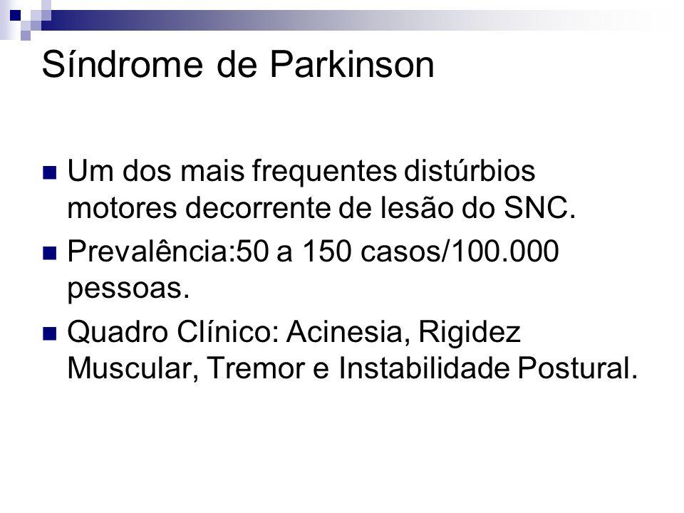 Síndrome de Parkinson Um dos mais frequentes distúrbios motores decorrente de lesão do SNC.