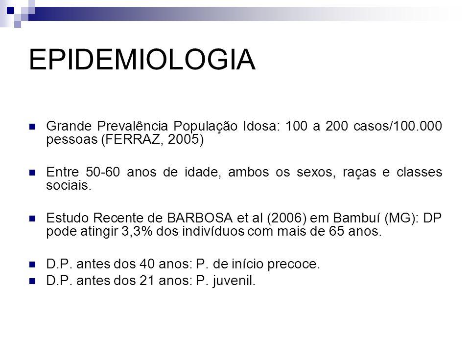 EPIDEMIOLOGIA Grande Prevalência População Idosa: 100 a 200 casos/100.000 pessoas (FERRAZ, 2005) Entre 50-60 anos de idade, ambos os sexos, raças e classes sociais.