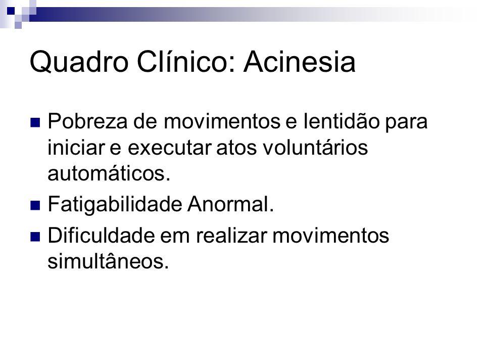 Quadro Clínico: Acinesia Pobreza de movimentos e lentidão para iniciar e executar atos voluntários automáticos.