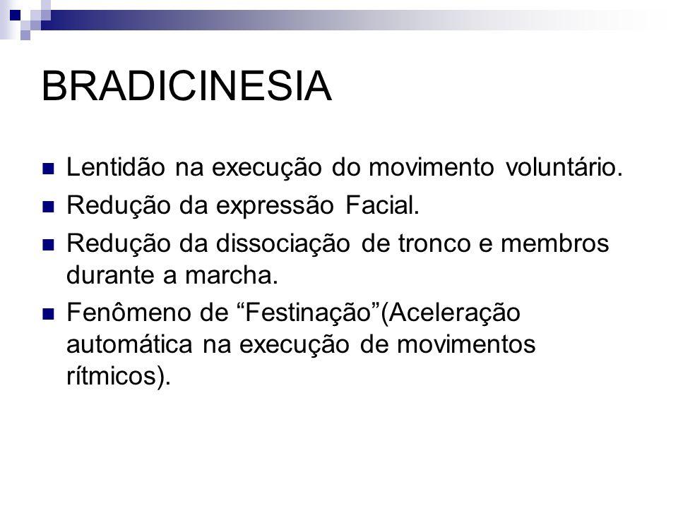 BRADICINESIA Lentidão na execução do movimento voluntário.