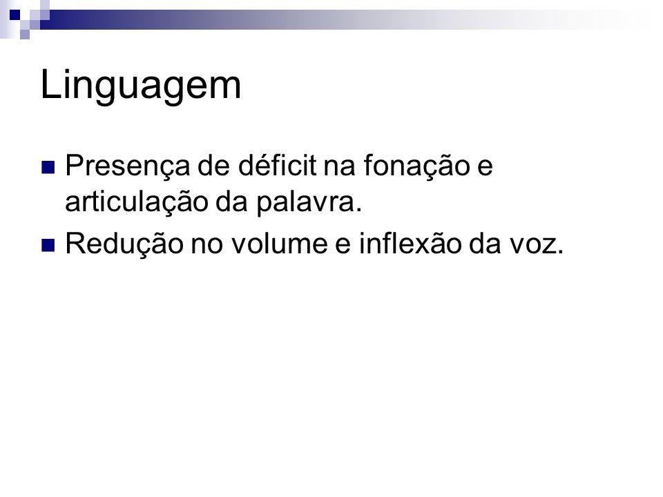 Linguagem Presença de déficit na fonação e articulação da palavra.