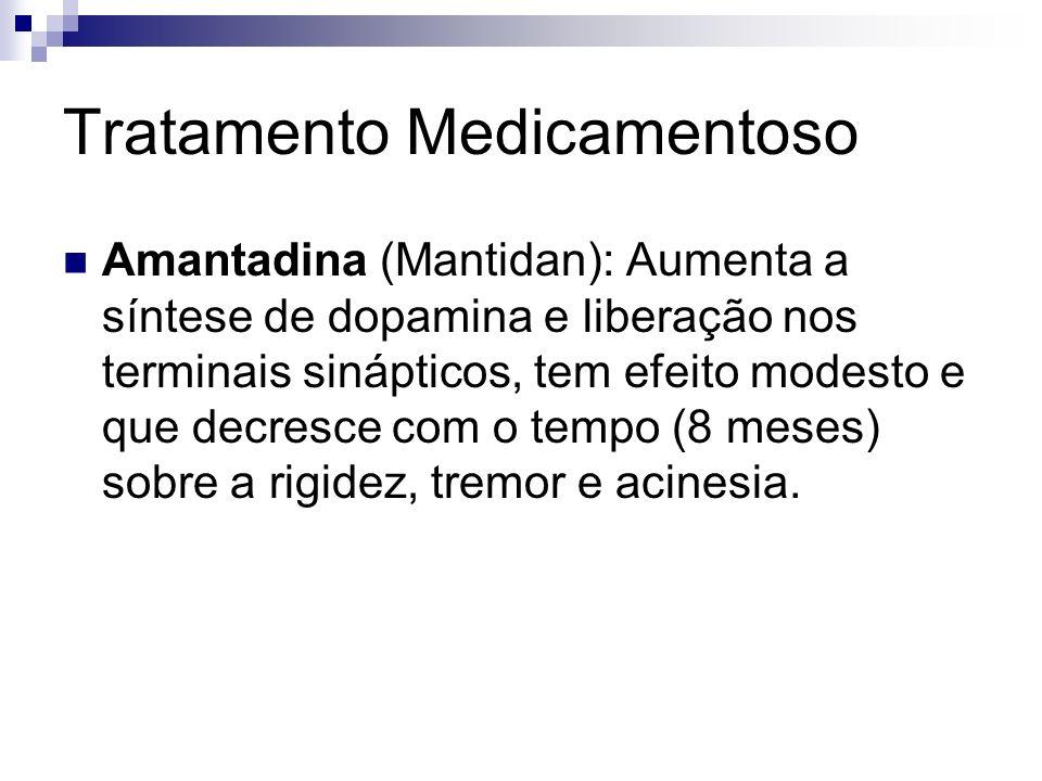 Tratamento Medicamentoso Amantadina (Mantidan): Aumenta a síntese de dopamina e liberação nos terminais sinápticos, tem efeito modesto e que decresce com o tempo (8 meses) sobre a rigidez, tremor e acinesia.