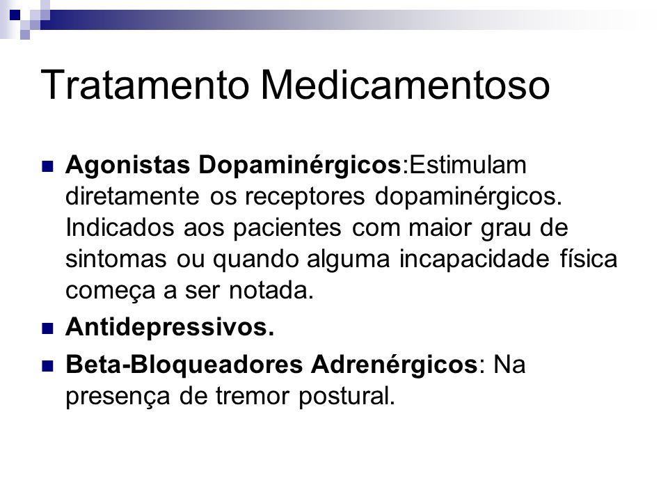 Tratamento Medicamentoso Agonistas Dopaminérgicos:Estimulam diretamente os receptores dopaminérgicos.