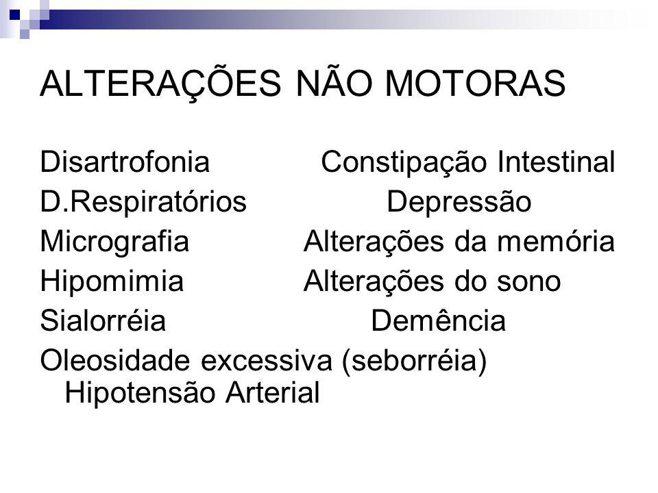 ALTERAÇÕES NÃO MOTORAS Disartrofonia Constipação Intestinal D.Respiratórios Depressão Micrografia Alterações da memória Hipomimia Alterações do sono Sialorréia Demência Oleosidade excessiva (seborréia) Hipotensão Arterial