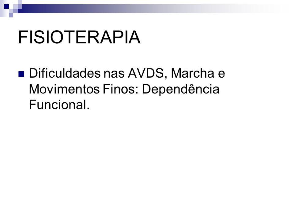 FISIOTERAPIA Dificuldades nas AVDS, Marcha e Movimentos Finos: Dependência Funcional.