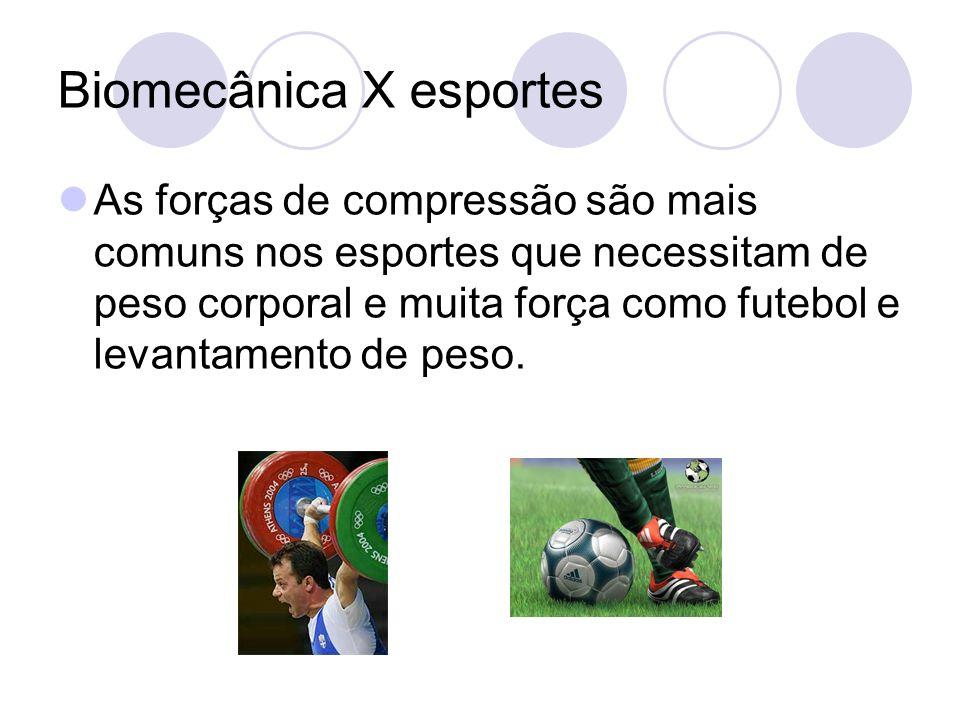 Biomecânica X esportes As forças de compressão são mais comuns nos esportes que necessitam de peso corporal e muita força como futebol e levantamento