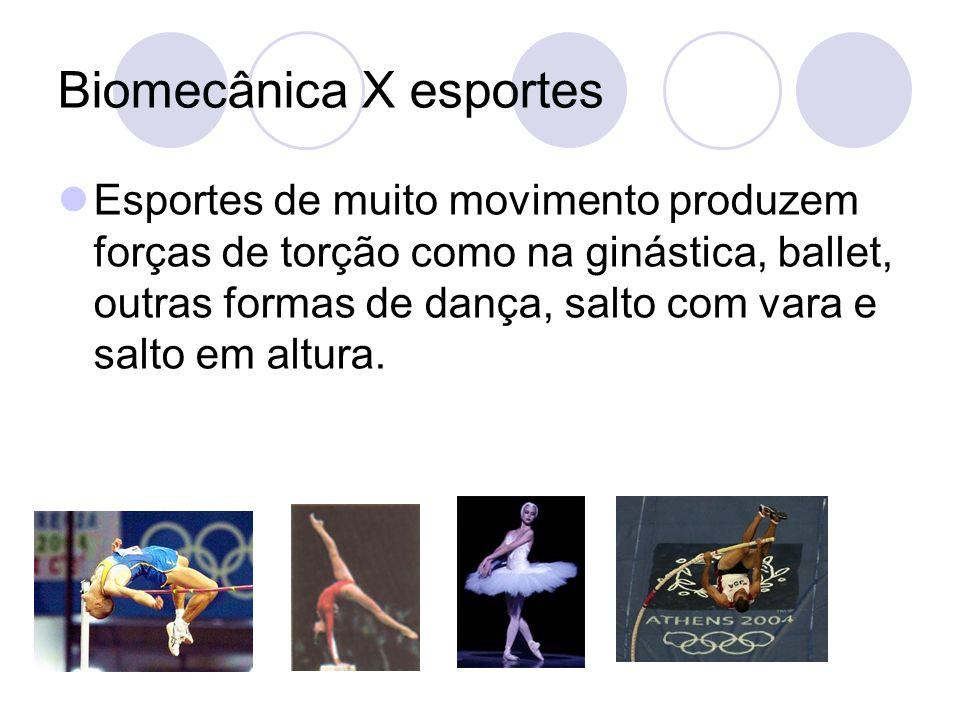 Biomecânica X esportes Esportes de muito movimento produzem forças de torção como na ginástica, ballet, outras formas de dança, salto com vara e salto