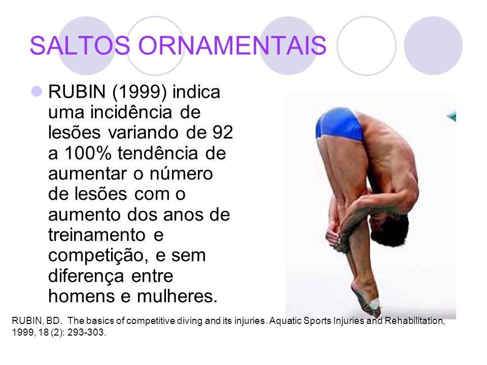 RUBIN (1999) indica uma incidência de lesões variando de 92 a 100% tendência de aumentar o número de lesões com o aumento dos anos de treinamento e co