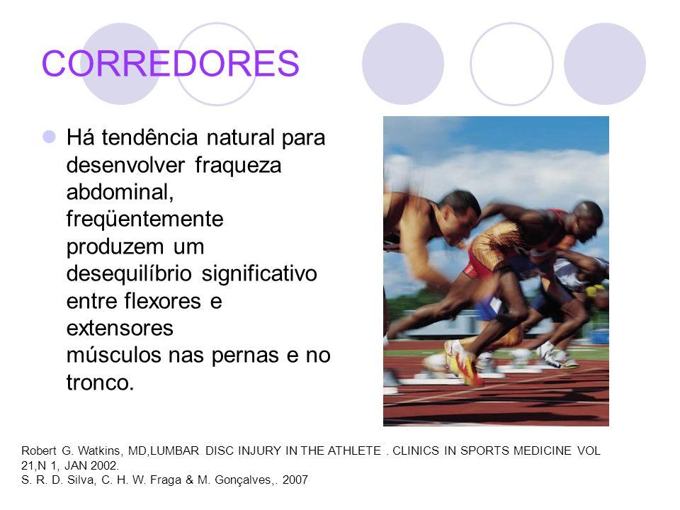 CORREDORES Há tendência natural para desenvolver fraqueza abdominal, freqüentemente produzem um desequilíbrio significativo entre flexores e extensore