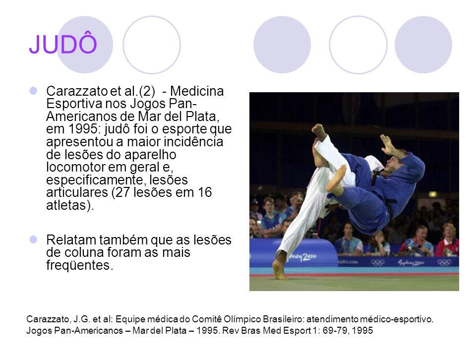 JUDÔ Carazzato et al.(2) - Medicina Esportiva nos Jogos Pan- Americanos de Mar del Plata, em 1995: judô foi o esporte que apresentou a maior incidênci