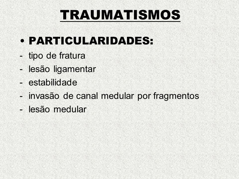TRAUMATISMOS PARTICULARIDADES: -tipo de fratura -lesão ligamentar -estabilidade -invasão de canal medular por fragmentos -lesão medular