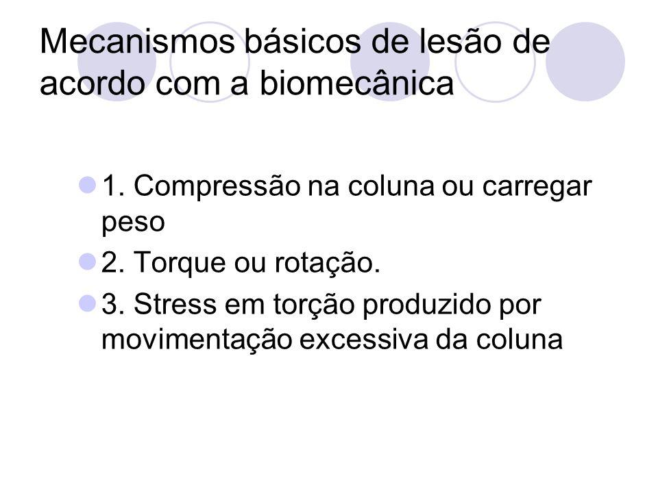Mecanismos básicos de lesão de acordo com a biomecânica 1. Compressão na coluna ou carregar peso 2. Torque ou rotação. 3. Stress em torção produzido p