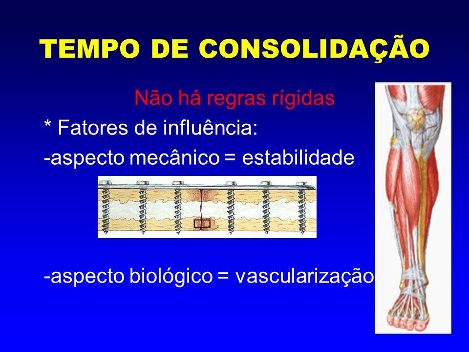 Consolidação Indireta Ocorre naturalmente como processo de cura das fraturas Ortopedia: tratamento conservador, não aborda o foco de fratura Todas as fases da consolidação estão presentes