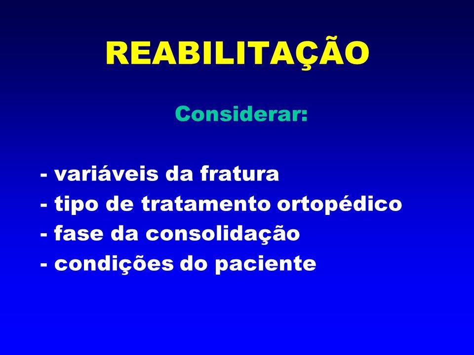 REABILITAÇÃO 2 enfoques: - Consolidação da fratura - Consequências da Doença de Fratura e do Imobilismo