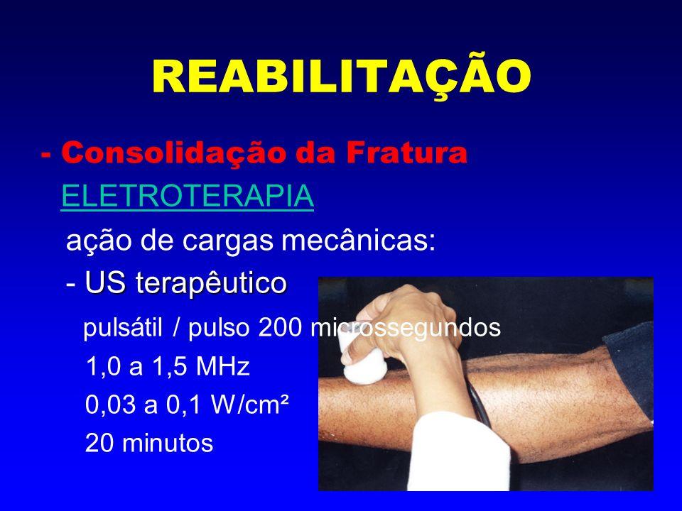 REABILITAÇÃO - Consolidação da Fratura ELETROTERAPIA ativação da cicatrização: Radiação Laser - Radiação Laser Laser AsGa