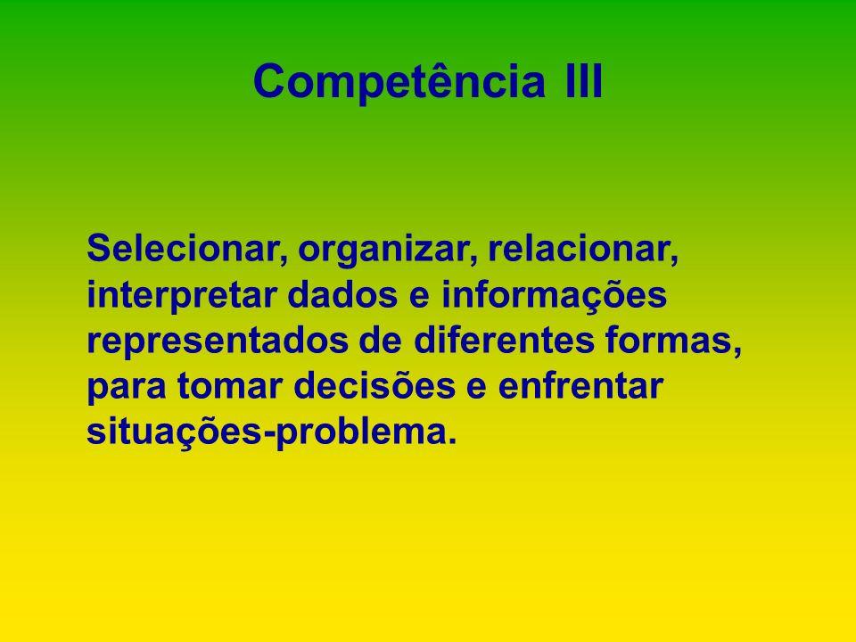 Competência III Selecionar, organizar, relacionar, interpretar dados e informações representados de diferentes formas, para tomar decisões e enfrentar