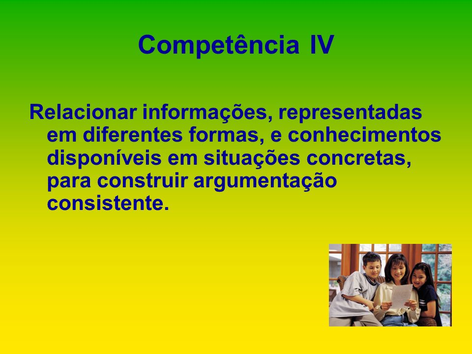 Relacionar informações, representadas em diferentes formas, e conhecimentos disponíveis em situações concretas, para construir argumentação consistent