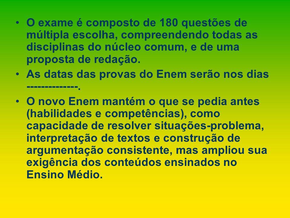 O exame é composto de 180 questões de múltipla escolha, compreendendo todas as disciplinas do núcleo comum, e de uma proposta de redação. As datas das