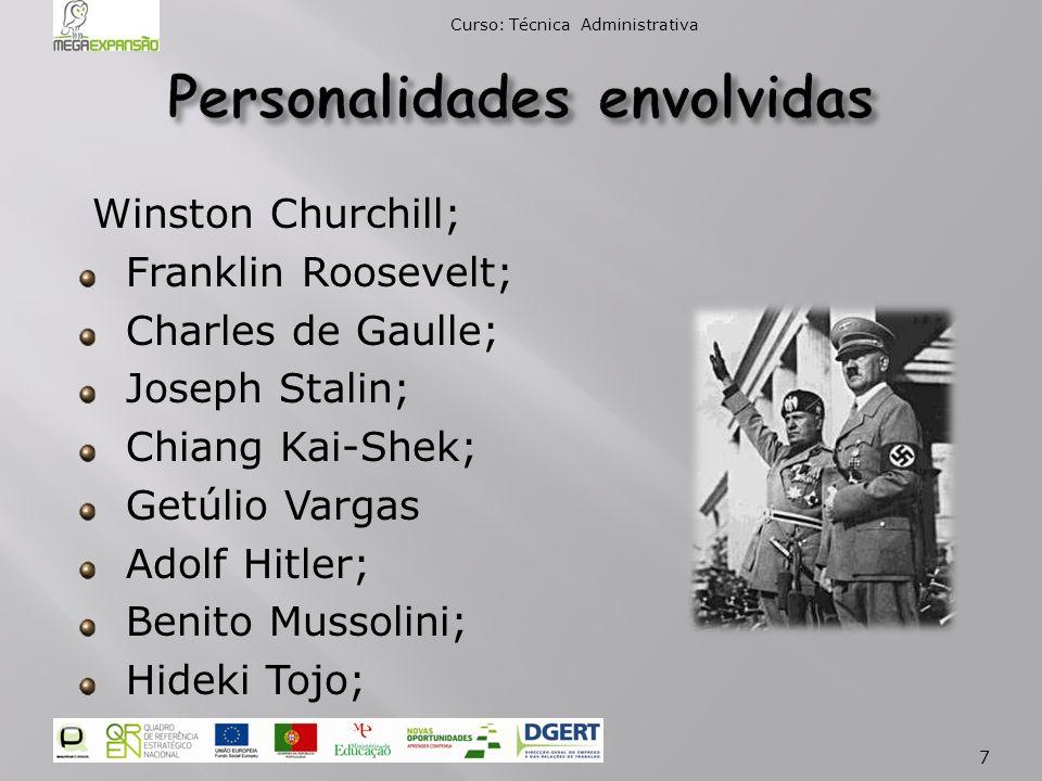 Winston Churchill; Franklin Roosevelt; Charles de Gaulle; Joseph Stalin; Chiang Kai-Shek; Getúlio Vargas Adolf Hitler; Benito Mussolini; Hideki Tojo; Curso: Técnica Administrativa 7