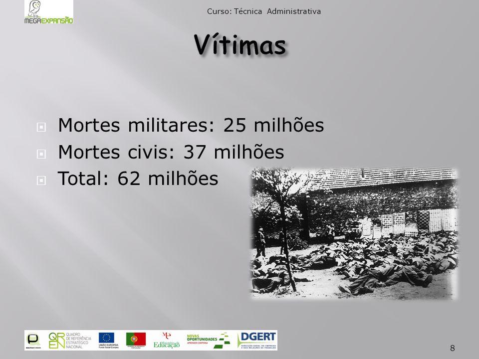 Mortes militares: 25 milhões Mortes civis: 37 milhões Total: 62 milhões Curso: Técnica Administrativa 8
