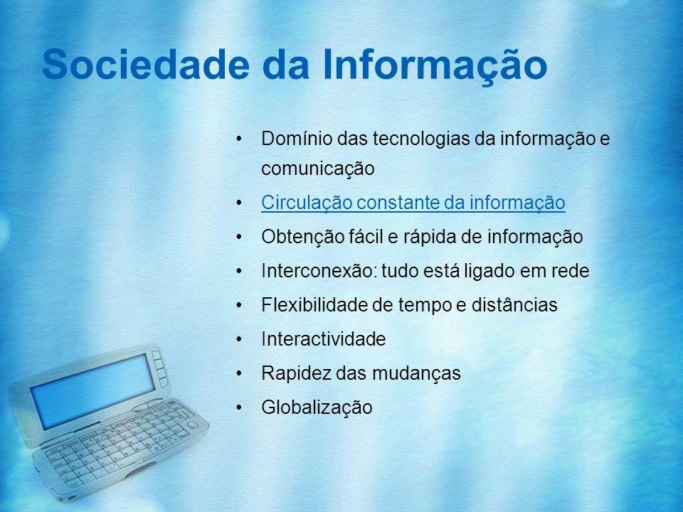 Sociedade da Informação Domínio das tecnologias da informação e comunicação Circulação constante da informação Obtenção fácil e rápida de informação I