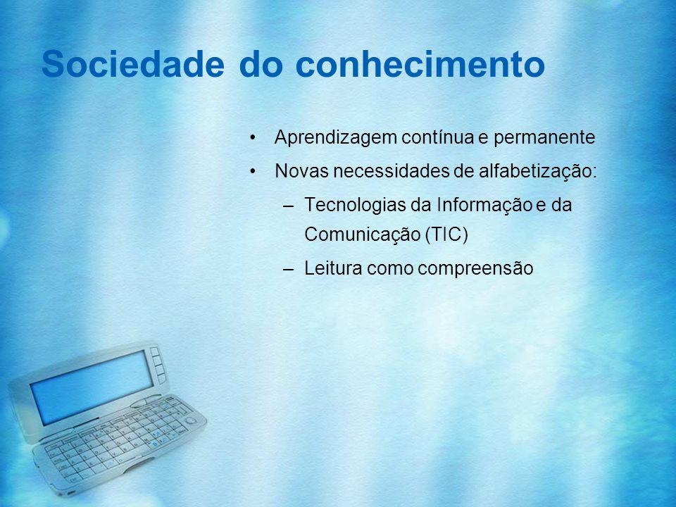 Sociedade do conhecimento Aprendizagem contínua e permanente Novas necessidades de alfabetização: –Tecnologias da Informação e da Comunicação (TIC) –L