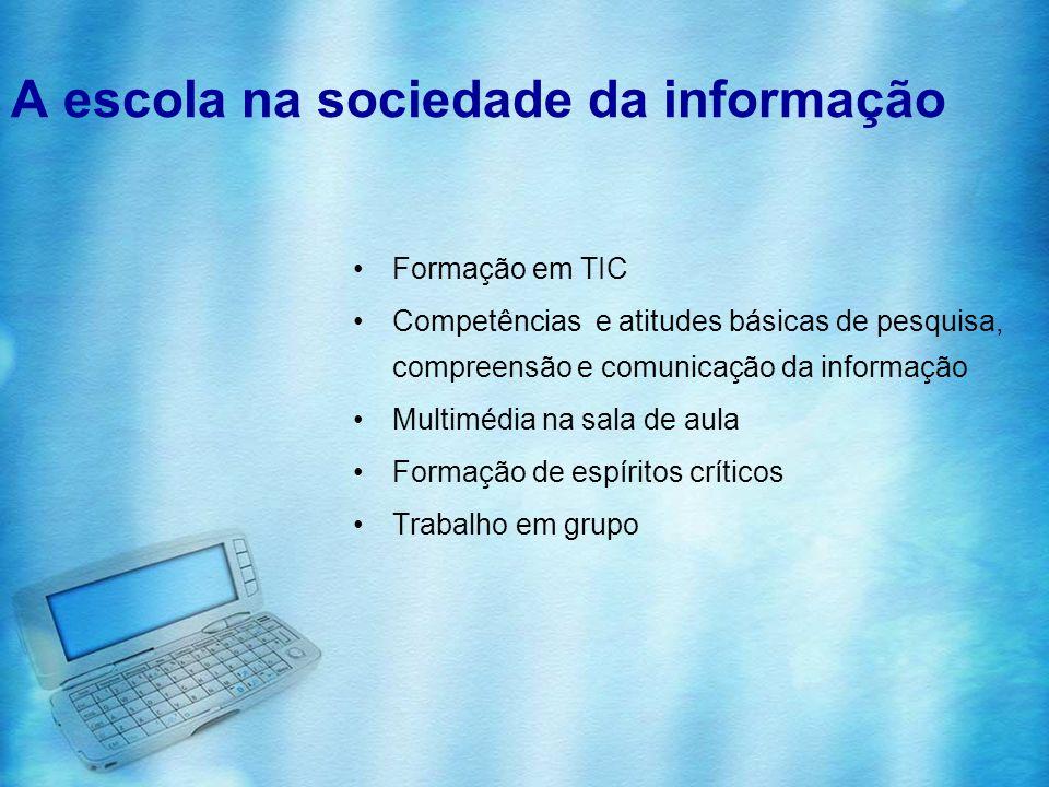 A escola na sociedade da informação Formação em TIC Competências e atitudes básicas de pesquisa, compreensão e comunicação da informação Multimédia na