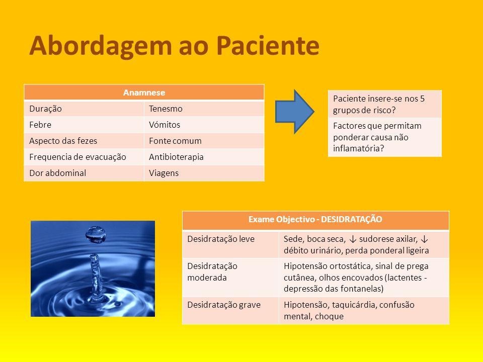 Abordagem ao Paciente Anamnese DuraçãoTenesmo FebreVómitos Aspecto das fezesFonte comum Frequencia de evacuaçãoAntibioterapia Dor abdominalViagens Exa