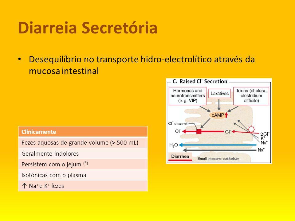 Diarreia Secretória Desequilíbrio no transporte hidro-electrolítico através da mucosa intestinal Clinicamente Fezes aquosas de grande volume (> 500 mL