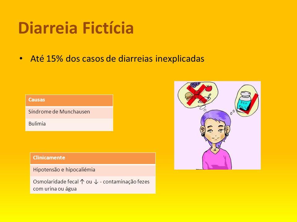 Diarreia Fictícia Até 15% dos casos de diarreias inexplicadas Causas Síndrome de Munchausen Bulimia Clinicamente Hipotensão e hipocaliémia Osmolaridad