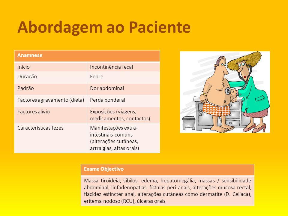 Abordagem ao Paciente Anamnese InícioIncontinência fecal DuraçãoFebre PadrãoDor abdominal Factores agravamento (dieta)Perda ponderal Factores alívioEx