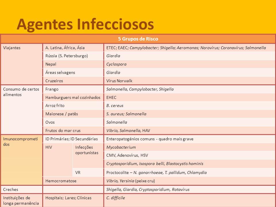 Agentes Infecciosos 5 grupos de risco 5 Grupos de Risco ViajantesA. Latina, África, ÁsiaETEC; EAEC; Campylobacter; Shigella; Aeromonas; Norovírus; Cor