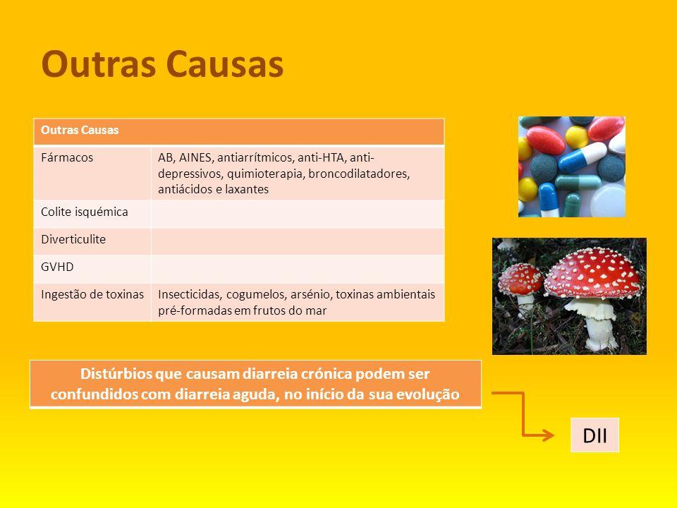 Outras Causas FármacosAB, AINES, antiarrítmicos, anti-HTA, anti- depressivos, quimioterapia, broncodilatadores, antiácidos e laxantes Colite isquémica
