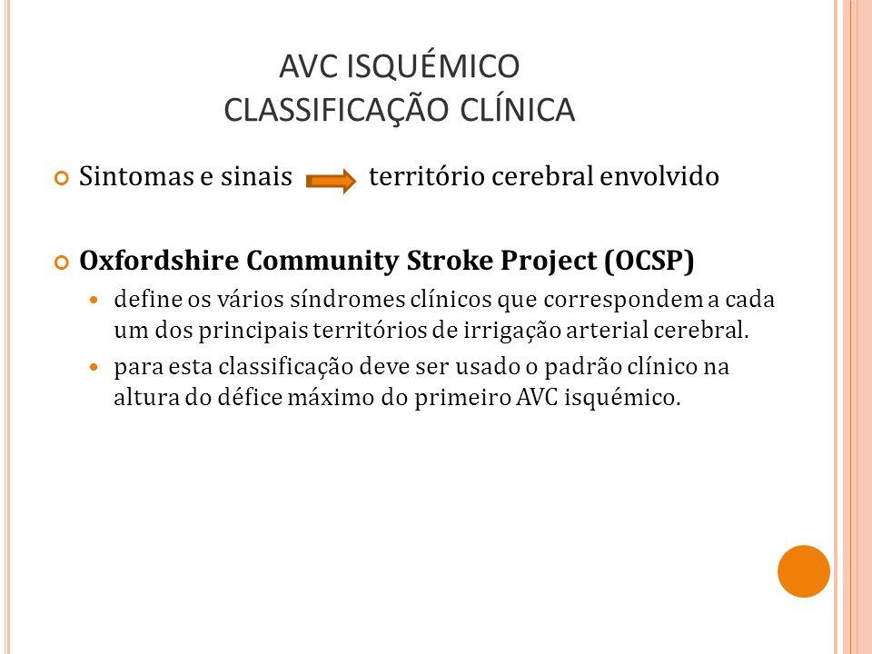 AVC ISQUÉMICO CLASSIFICAÇÃO CLÍNICA Sintomas e sinais território cerebral envolvido Oxfordshire Community Stroke Project (OCSP) define os vários síndr