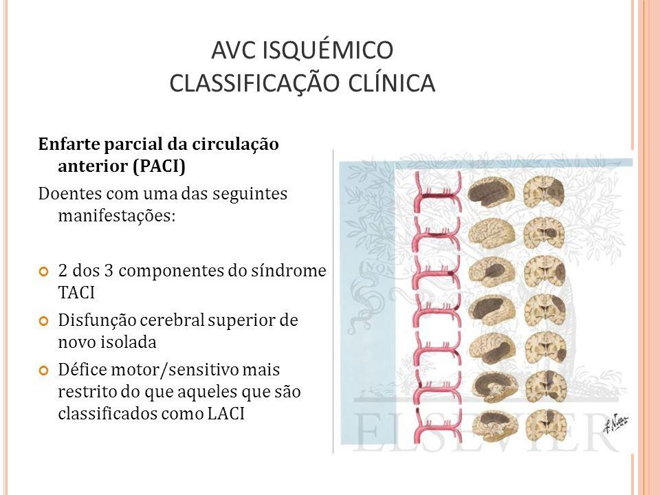 AVC ISQUÉMICO CLASSIFICAÇÃO CLÍNICA Enfarte parcial da circulação anterior (PACI) Doentes com uma das seguintes manifestações: 2 dos 3 componentes do