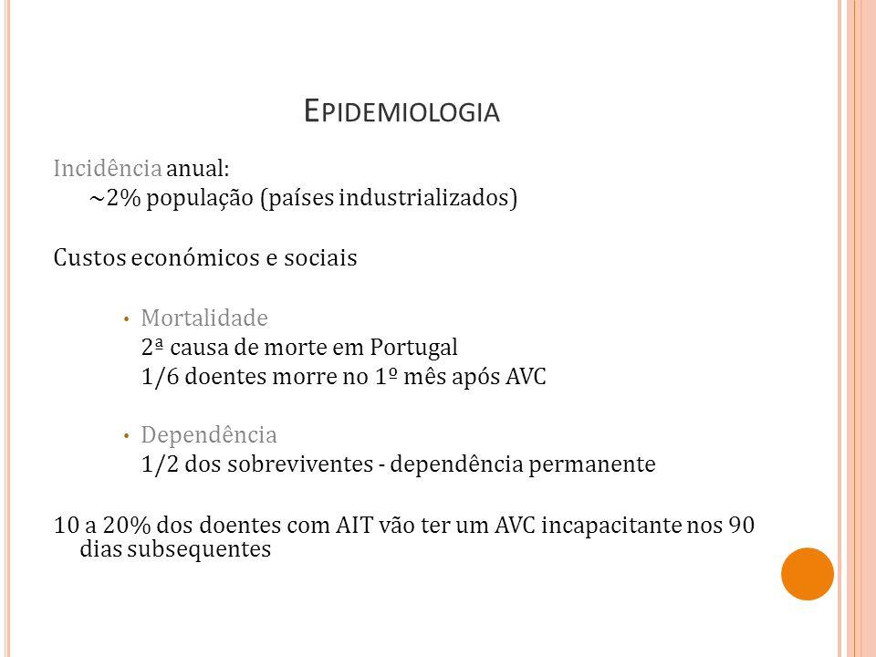 CLASSIFICAÇÃO PATOLÓGICA ARTERIAL ACIDENTE VASCULAR CEREBRAL (AVC) ISQUÉMICO ACIDENTE VASCULAR CEREBRAL ISQUÉMICO (AVC I) ACIDENTE ISQUÉMICO TRANSITÓRIO (AIT) HEMORRÁGICO ACIDENTE VASCULAR CEREBRAL HEMORRÁGICO (AVC H) (HEMORRAGIA PARENQUIMATOSA) HEMORRAGIA SUBARACNOIDEIA (HSA) ACIDENTE VASCULAR MEDULAR (AVM) VENOSO TROMBOSE VENOSA CEREBRAL (TVC)