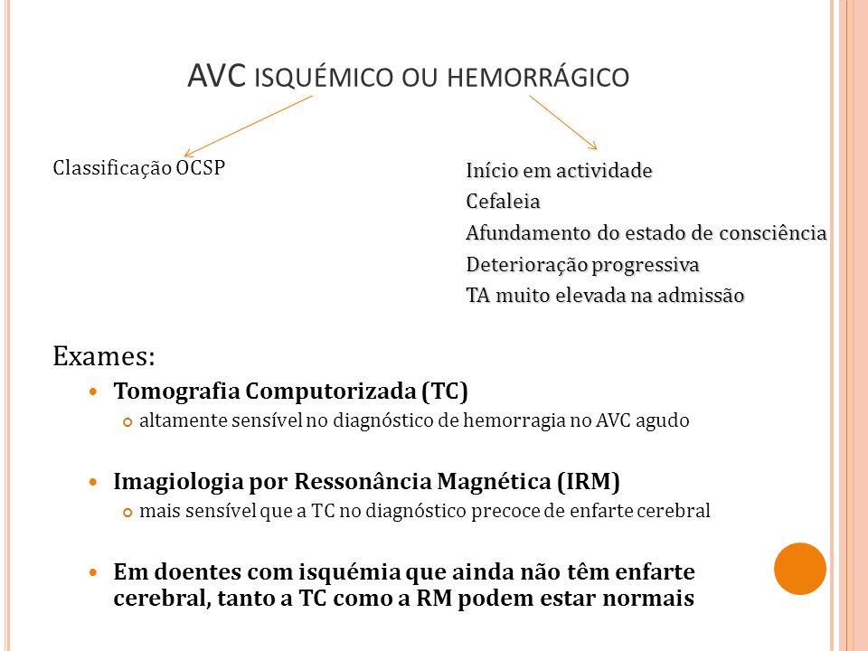 AVC ISQUÉMICO OU HEMORRÁGICO Classificação OCSP Exames: Tomografia Computorizada (TC) altamente sensível no diagnóstico de hemorragia no AVC agudo Ima