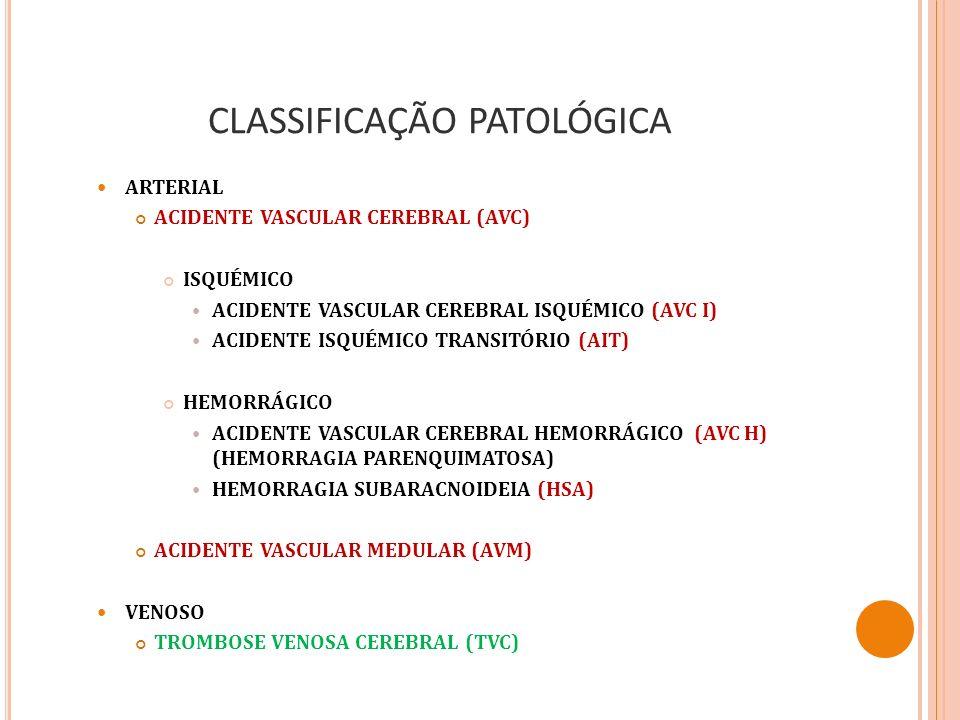 CLASSIFICAÇÃO PATOLÓGICA ARTERIAL ACIDENTE VASCULAR CEREBRAL (AVC) ISQUÉMICO ACIDENTE VASCULAR CEREBRAL ISQUÉMICO (AVC I) ACIDENTE ISQUÉMICO TRANSITÓR